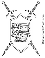 Crossed Swords and Shield Outline - A sword typical of a...