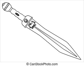 Roman Gladiator Sword Outline - A sword as used by the Roman...