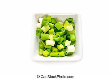 Green Onion Sliced in a Bowl