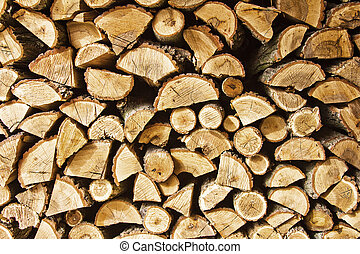 Fire wood - Pile of chopped fire wood prepared for winter