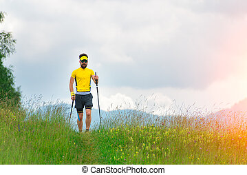 Nordic walking in mountain meadow