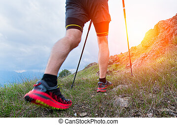 Nordic walking in the mountain