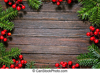 christmas background, christmas decoration on the wooden...
