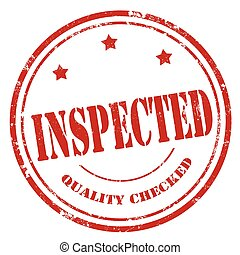 Inspected-red stamp - Grunge rubber stamp with text...