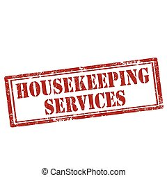 Housekeeping Services-stamp - Grunge rubber stamp with text...