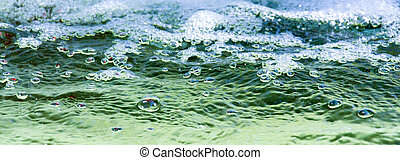 many bubbles in water close up