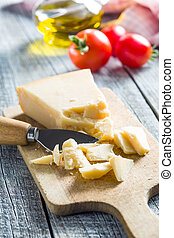 parmesan cheese with knife - The parmesan cheese with knife...