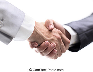Business partners shaking hands - Handshake isolated on...