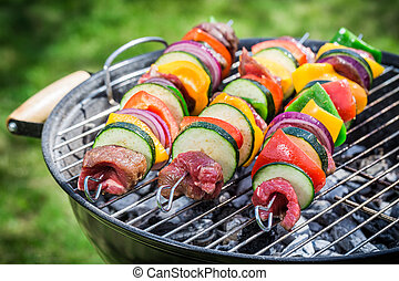 Roasting fresh red meat and vegetables with spices in garden