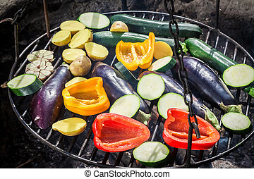Fresh vegetables with herbs on grill