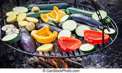 Roasting fresh vegetables with herbs in garden