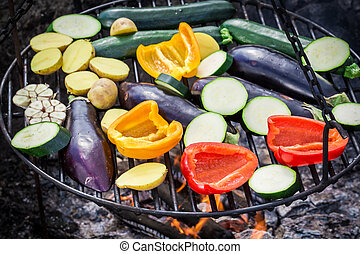 Roasting fresh vegetables with spices in garden