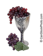 Silver Chalice and Grapes - Silver antique chalice with...