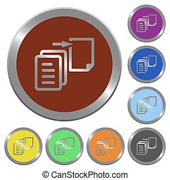 Color move file buttons - Set of color glossy coin-like move...