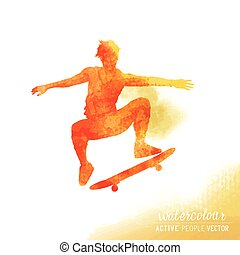 Watercolour Skater Guy Vector - A Skater flipping a...