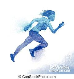 Watercolour Running Woman Vector
