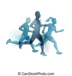 A team of active runners