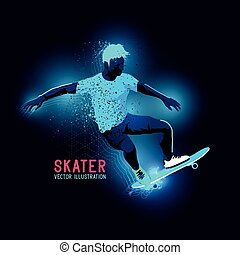 Neon Skater Vector - Neon glowing backlit silhouette of A...