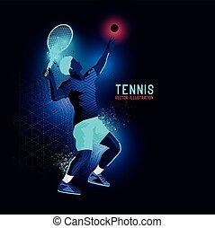 Neon Pro Tennis Player Vector