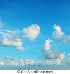 blue sky, cirrus and cumulus clouds