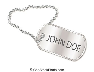 John Doe Dog Tag - A military style dog tags with chain with...