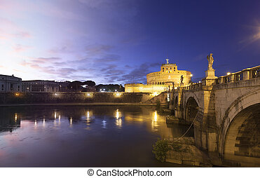 Rome Castel Sant Angelo twilight transition - Castel Sant...