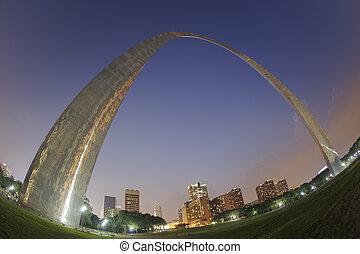 St Louis Gateway Arch sunset fisheye view