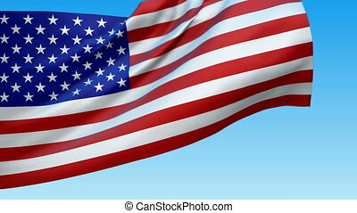 Seamless loop waving USA flag Alpha channel is included