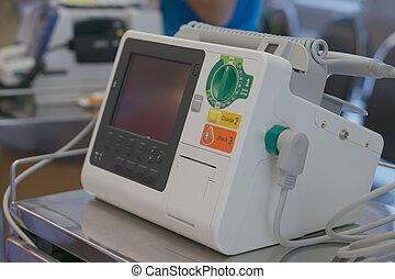 Defibrillator in emergency room - Defibrillator unit stand...