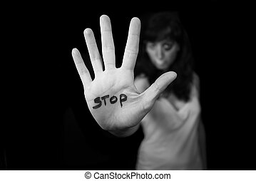 Stop violence against women Hand saying stop