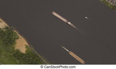 Aerial view:Barge on the river. - Aerial view:river barge on...