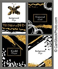 Brochure template design set with brush stroke Vector illustration. Grunge cards with golden paint, modern style poster or flyer. Brush strokes, gold tinsel