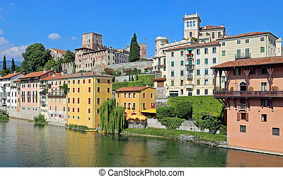 House of the city of Bassano City in Italy and the Brenta...