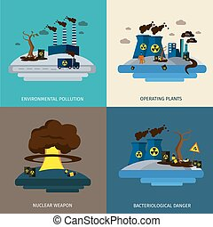Environmental Pollution Icon Set - Environmental pollution...