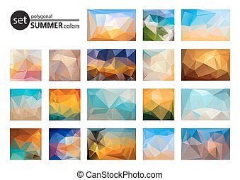 summer colors set - Polygonal backgrounds set, looks like...