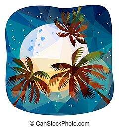 summer tropical night - Polygonal backgrounds set, looks...
