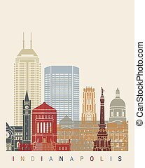 Indianapolis skyline poster in editable vector file