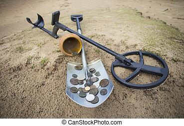 coletado, pote, moedas, Ouro