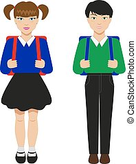 Children with schoolbags - Vector illustration of two...