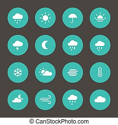 Set of weather forcast flat icons on circle - Weather...