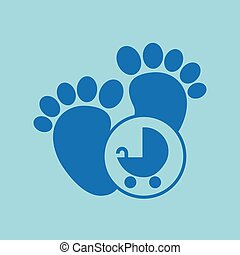 baby stroller icon - baby stroller with toy icon, vector...