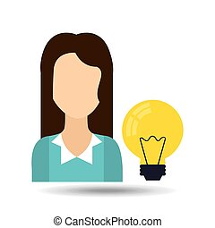 girl with light bulb icon
