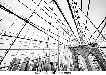 Brooklyn Bridge in New York - Black and white image of the...