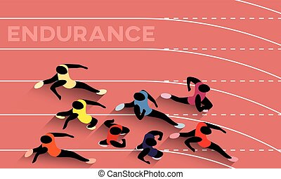 Endurance - Vector Illustration Of Racing Athletes...