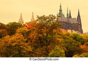 Prague Castle, old city with autumn trees , european travel...