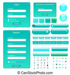 Colorful web template with forms, bars, buttons and many icons.