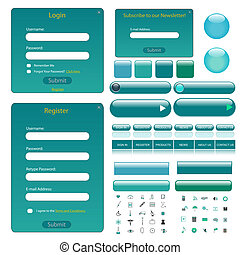 Web template with forms, bars, buttons and many icons.