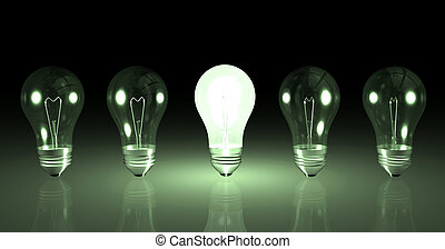 Light Bulbs - Image one lit light bulb next to other unlit...