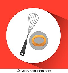bakery food icon over white background, vector illustration...