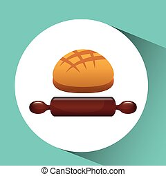 bakery food icon - bread in plate, bakery food icon, vector...